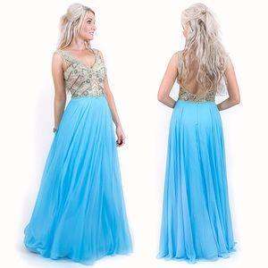 Blue Beaded Chiffon Pageant Prom Dress